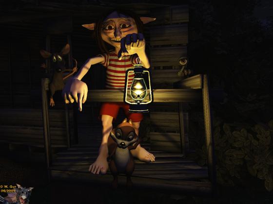 Nachts am Baumhaus
