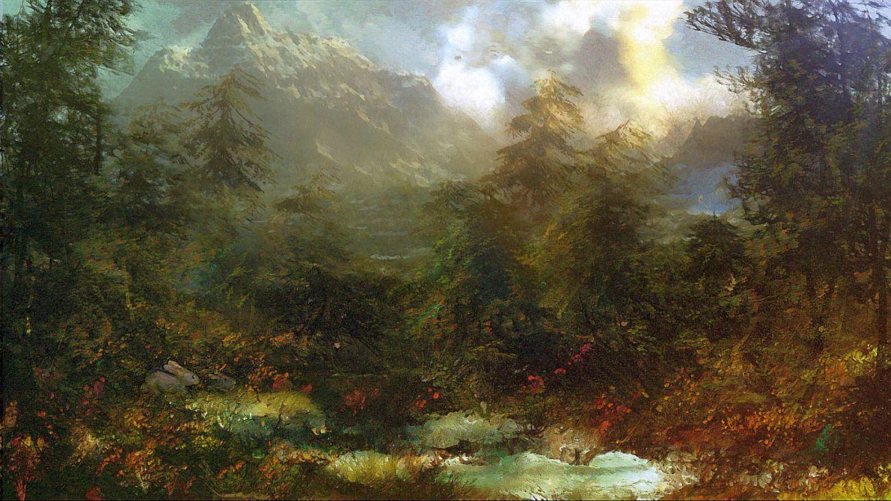 Landschaft mit Hasen