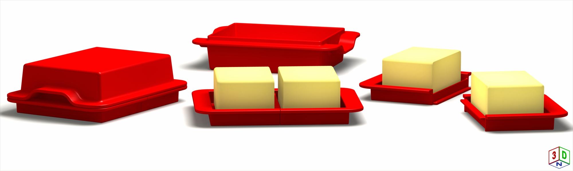 Dreiteilige Butterdose