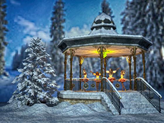 Die Wald-Feen entzünden das erste Weihnachtslicht.