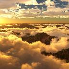 Sonnenaufgang über den Bergen