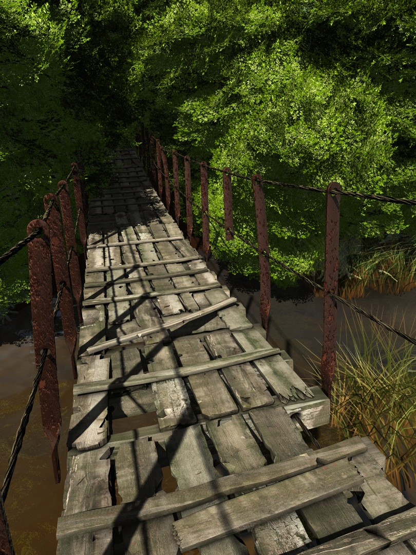 Verrottete Hängebrücke