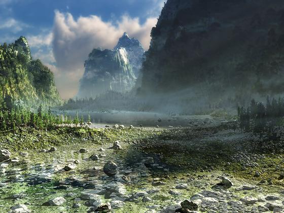 Mountain Lake in Morninghaze - Update