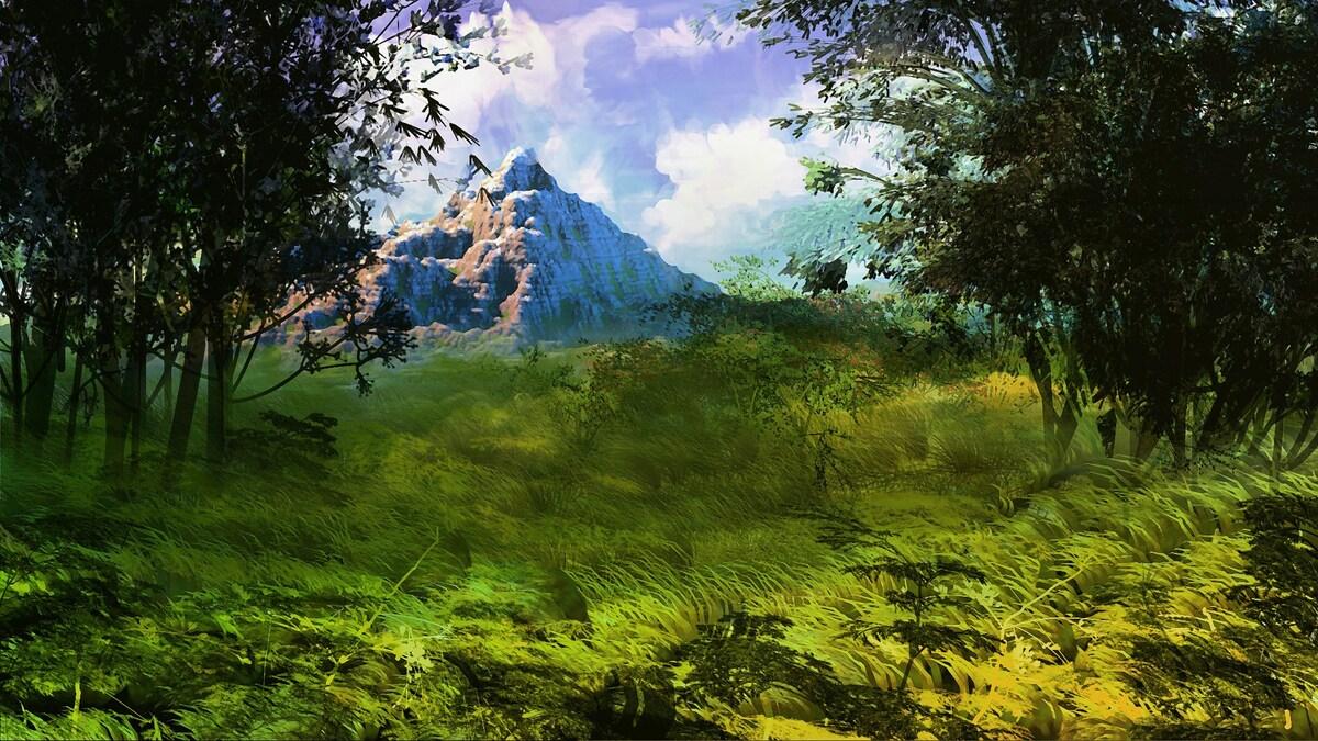 3D Landschaft und gemaltes Grass und Baueme