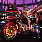 Cyber Punk Lady auf Bike
