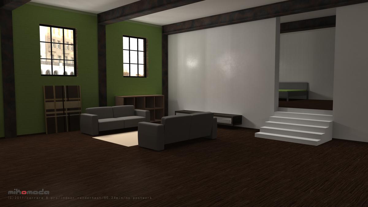 carrara 8 pro indoor rendertest, 50.24min, no postwork