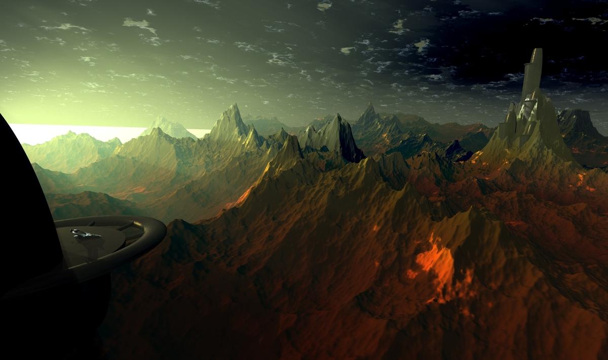 Sonnenaufgang auf  Erzplanet