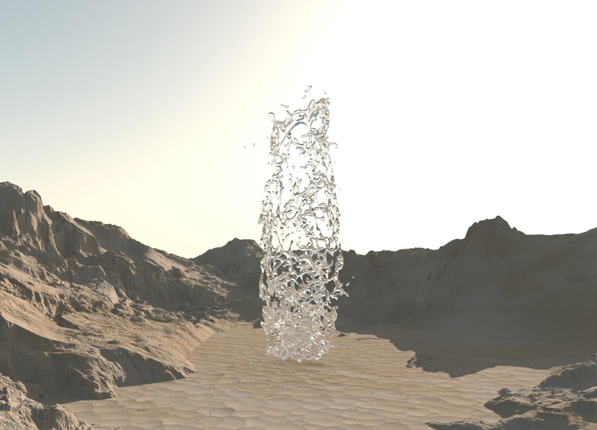 Schwebendes Wasser in der Wüste