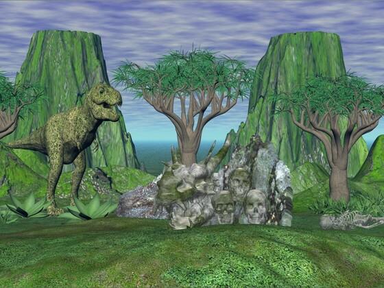 T- Rex und Aloenbäume