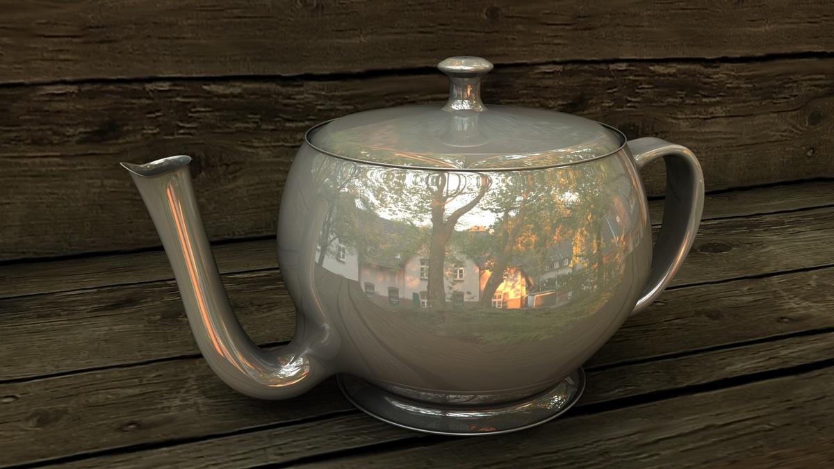 Teekanne in der Abendsonne