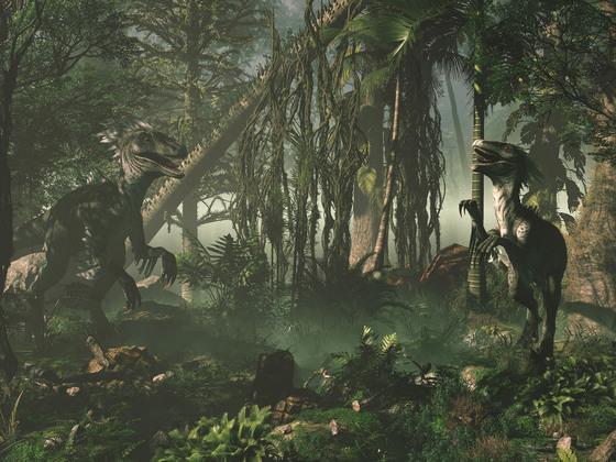 zwei kleinere Raptoren im Nebelwald