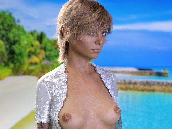 Carley am Strand - Portrait