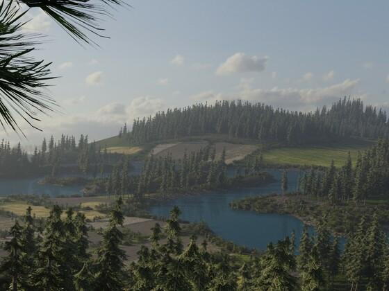 Landschaft in Blender nach Bob Ross