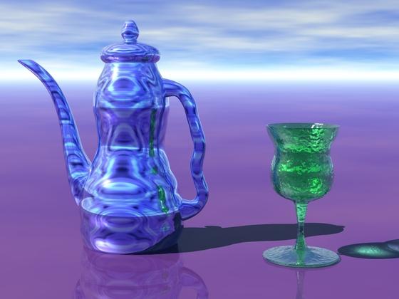 Kaffeekanne und Weinglas