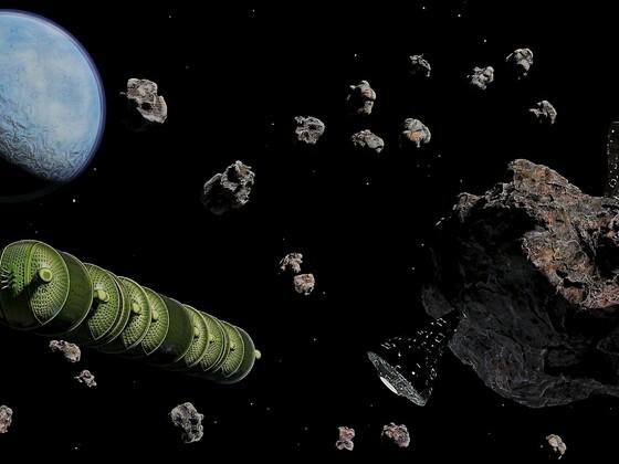 Erzabbau im Kuipergürtel nahe Neptun