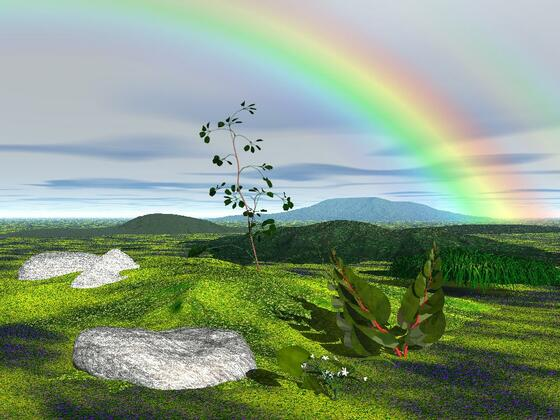 Landschaft mit Regenbogen