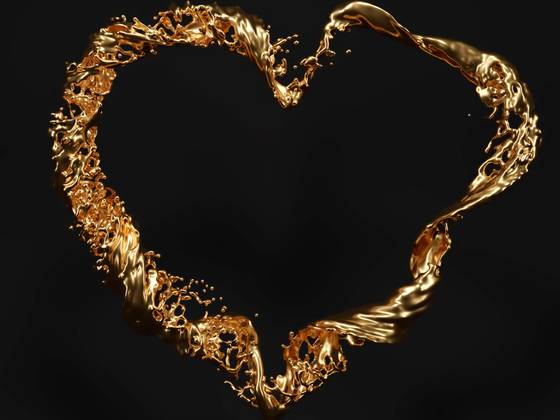 Golden Splashy Heart