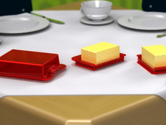 Butterdose auf einem Tisch