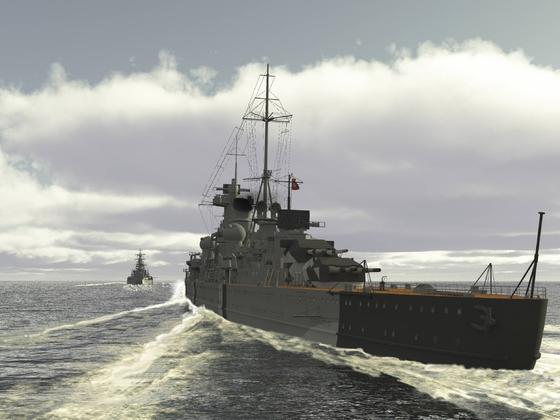 Prinz Eugen im Kielwasser der Bismarck