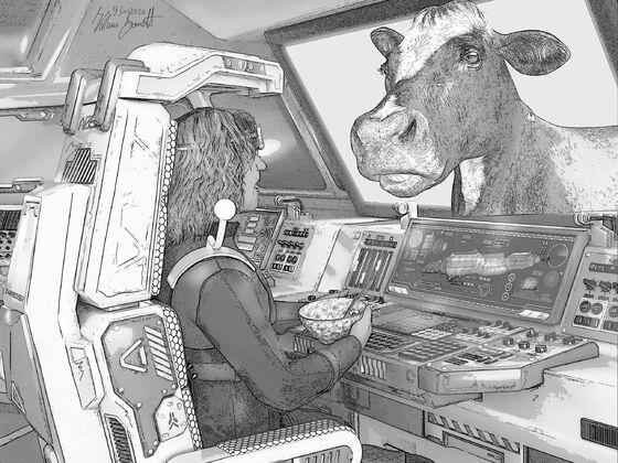 Nelemann der Weltraumfahrer - hier: die Kuh im Cockpit