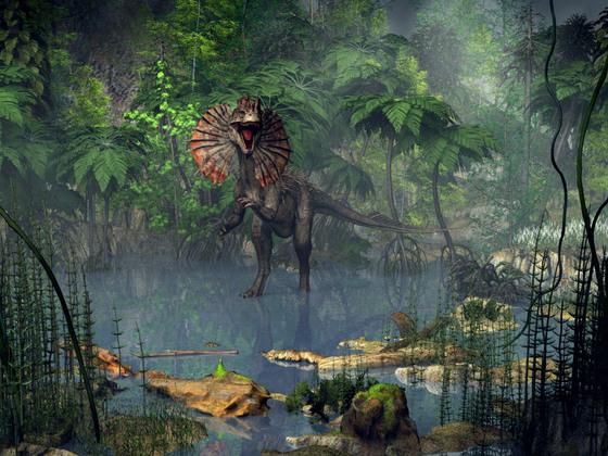 Dilophosaurus in den Sümpfen