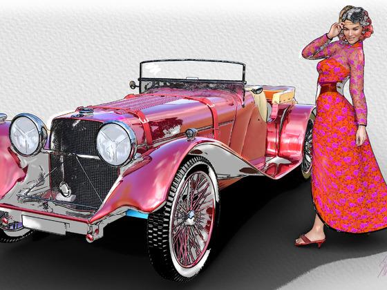 Rot und Wertvoll- Dame mit Roadster Jaguar s.s.100 (1936)