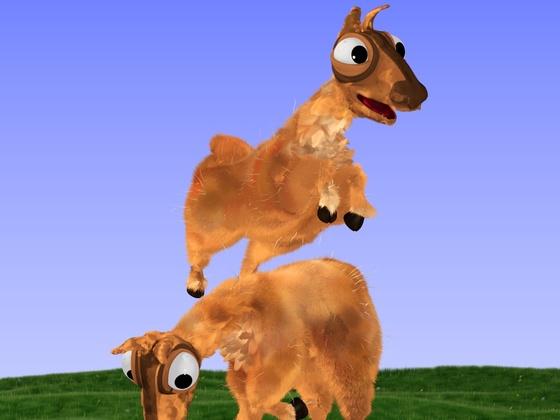 Kleiner Abschlussrender Cartoon-Lamas