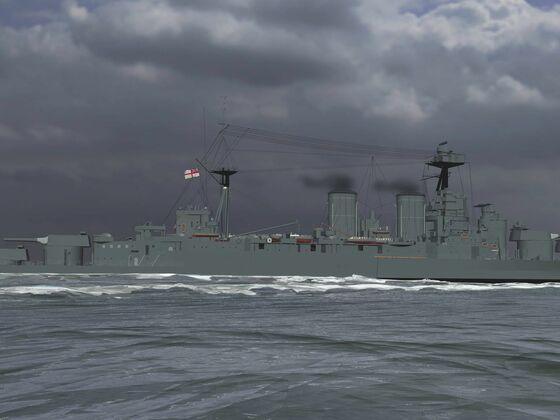 HMS Hood auf dem Weg