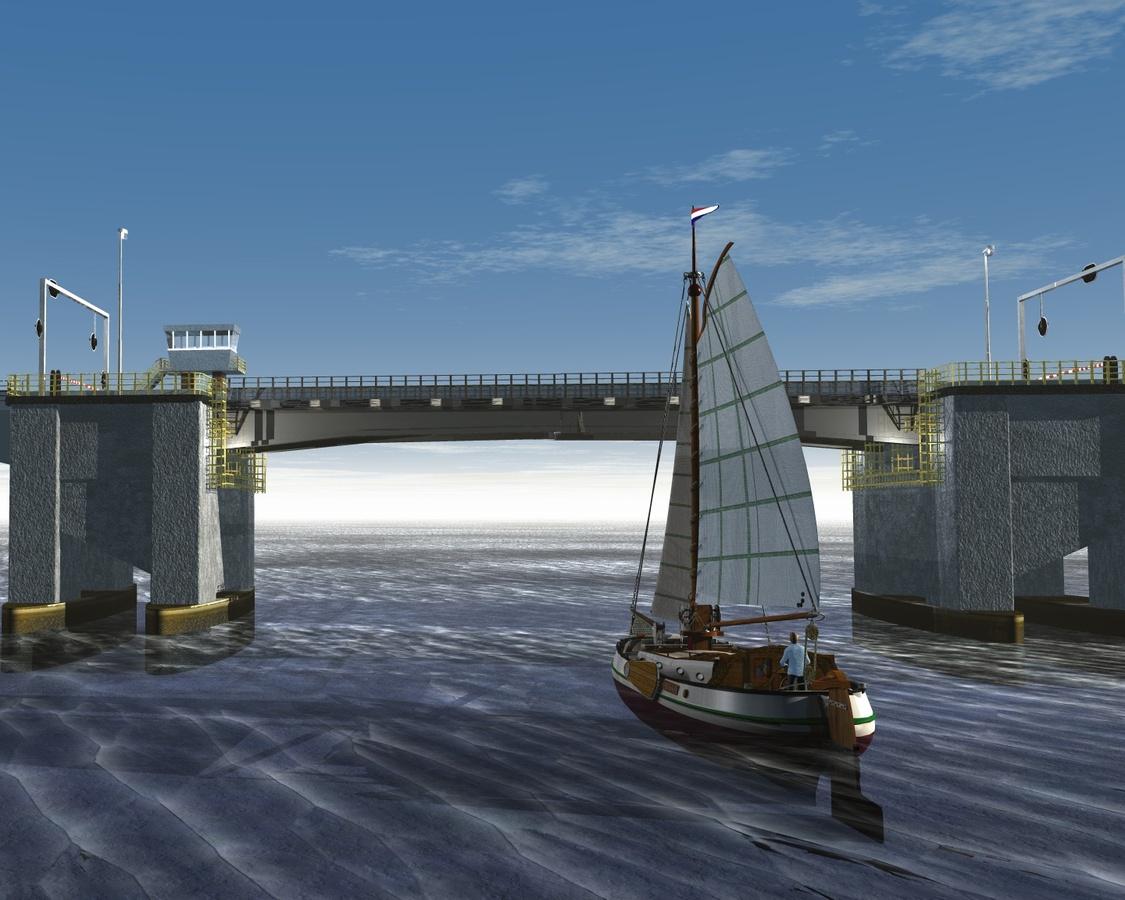 Tjalk vor der Zeeland-Brücke