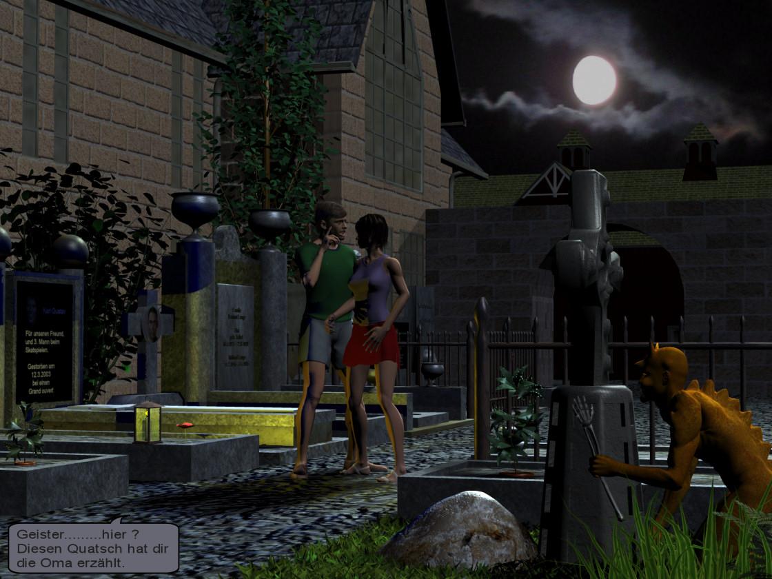 Nachts auf dem Friedhof