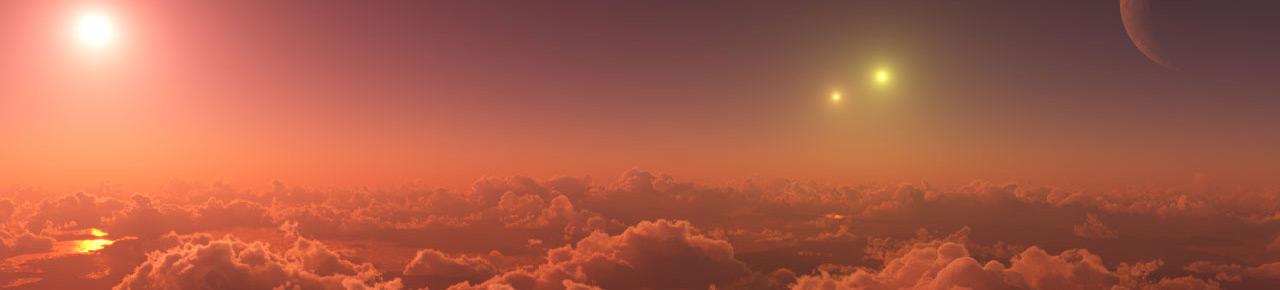 Dreifacher Sonnenuntergang